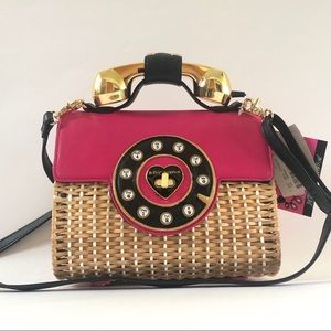 Betsey Johnson Wicker Phone Crossbody Bag Purse